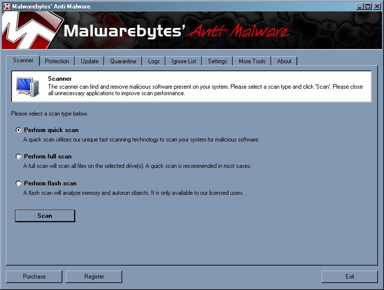 malwarebytes GUI