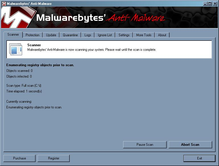 malwarebytes start scan