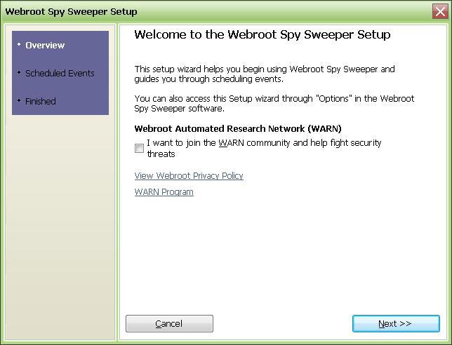 SpySweeper setup scan