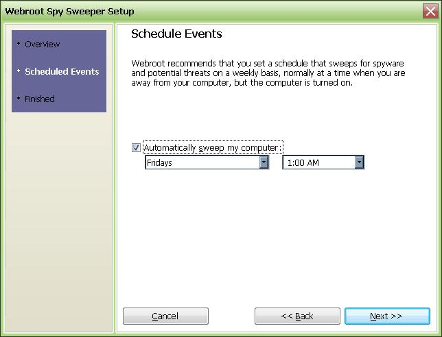 SpySweeper schedule scan